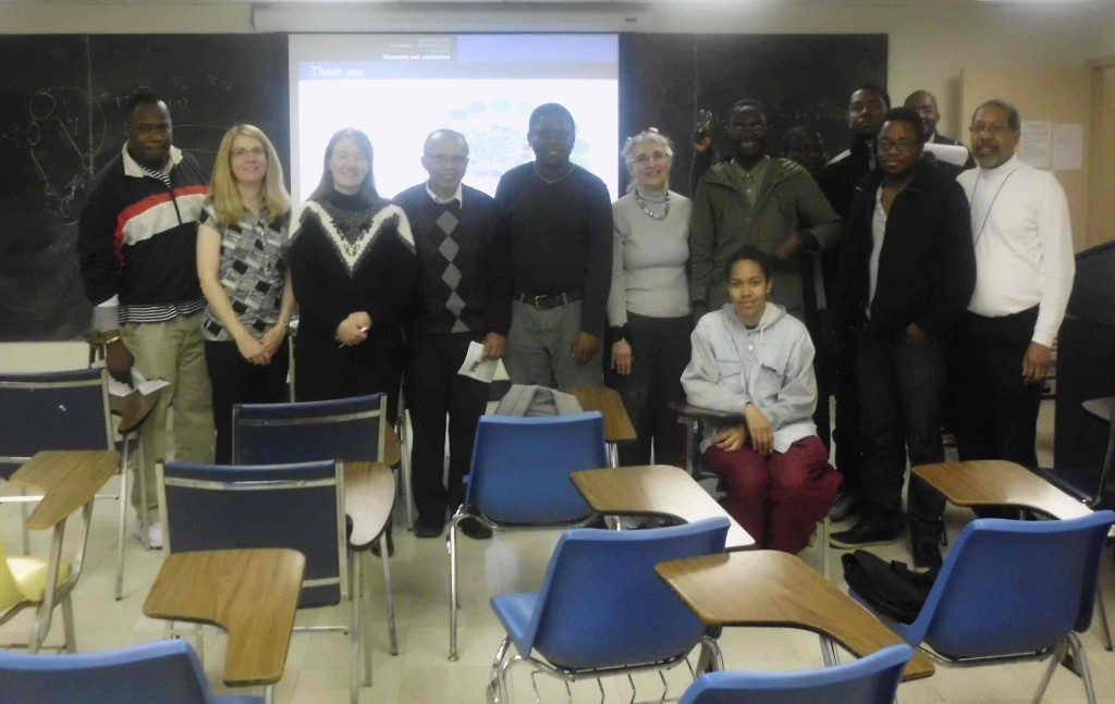 NIMBioS postdoctoral fellow Gesham Magombedze (fifth from the left side) with guests to his colloqium talk at Howard University.