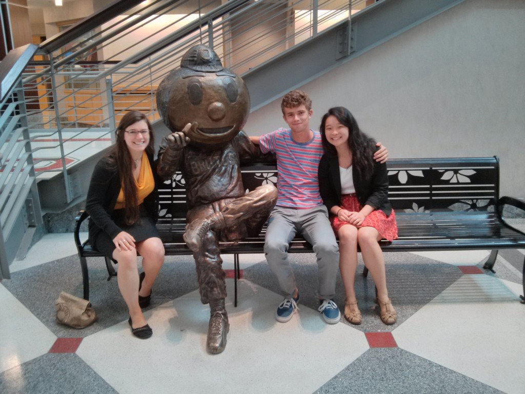 From L to R: Monica Napoles, Brutus Buckeye, Jacob Lambert and Jocelyn Keung take a break at the MBI Capstone Conference