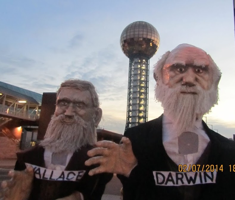 Greetings from Knoxville! NIMBioS postdocs Clemente Aguilar (left) and Jiang Jiang (right) assume Wallace and Darwin disguises.