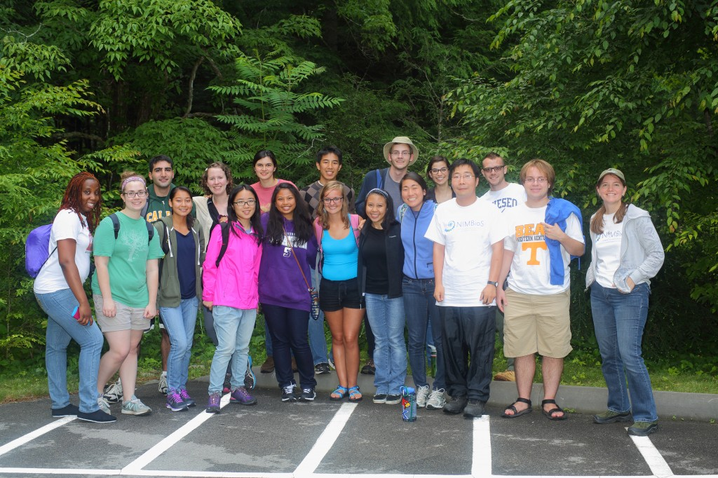 2014 NIMBioS SRE undergraduates and friends pose in the Smokies during a trip to see the synchronous fireflies.