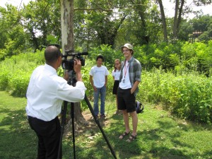 Students on the Argentine ant project on camera.