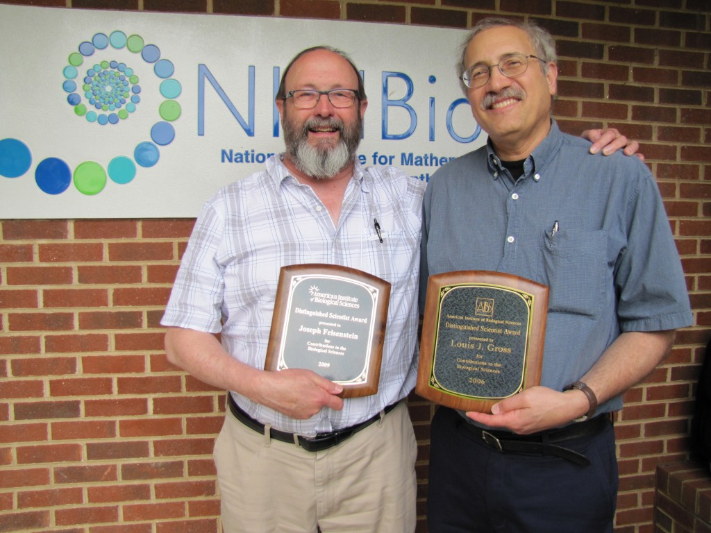 AIBS Distinguished Scientists Joe Felsenstein (left) and Louis Gross (right)
