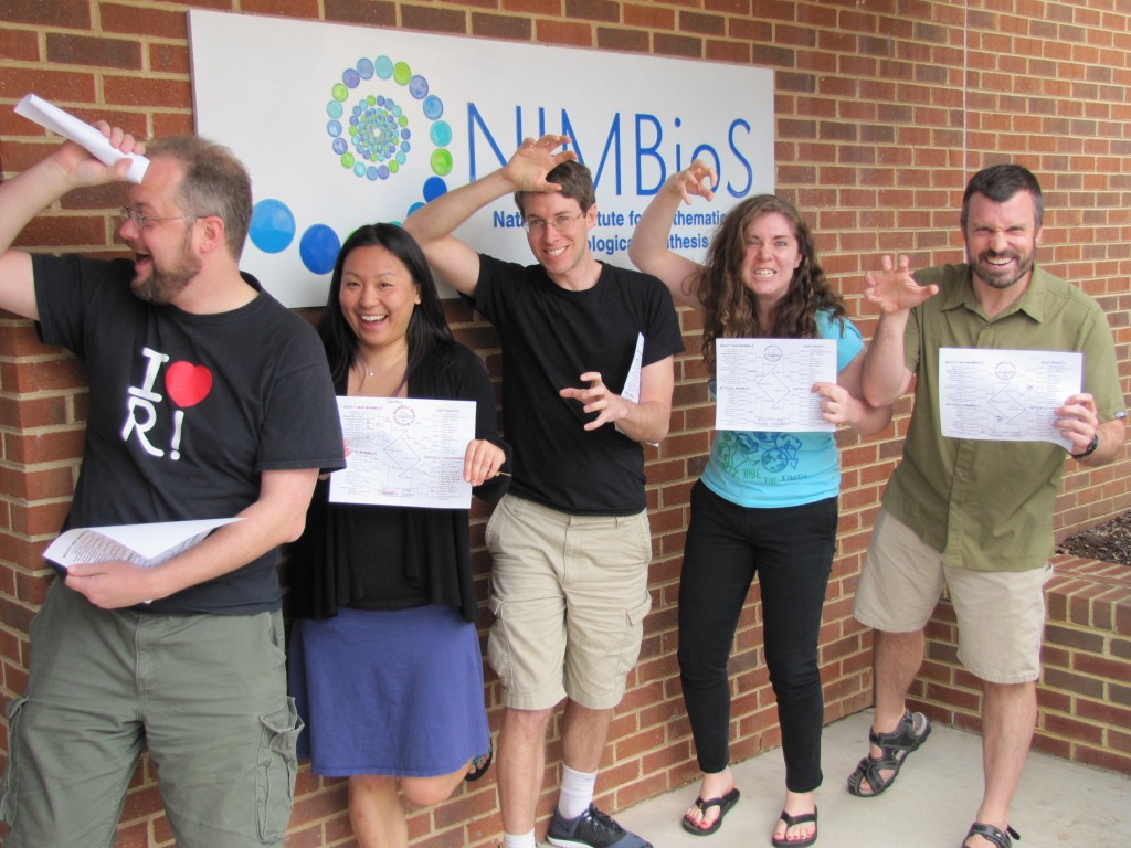 NIMBioS Postdocs and staff imitate the animal they chose to win while displaying their March Mammal Madness 2015 brackets