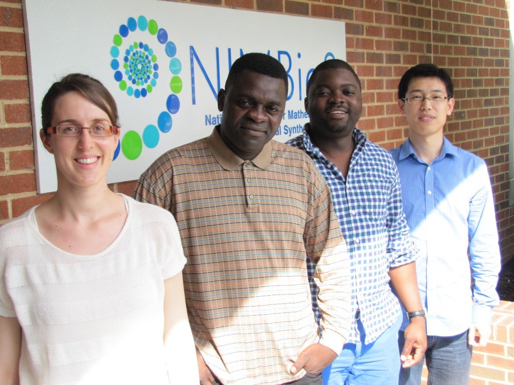 Former NIMBioS postdocs (from left) Maud Lélu, Calistus Ngonghala, Orou Gaoue, and Jiang Jiang