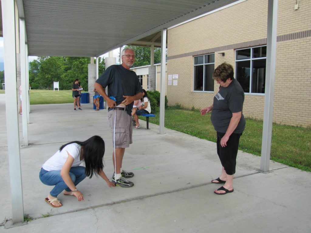 Tennessee elementary school teachers measure hip height learned how Alexander's Formula is used to model how fast dinosaurs could move based on their stride length, determined from fossilized footprints, and based on their hip height, determined from fossilized bones. The teachers then took on the role of pretending to be bipedal dinosaurs and performed trials by running outside