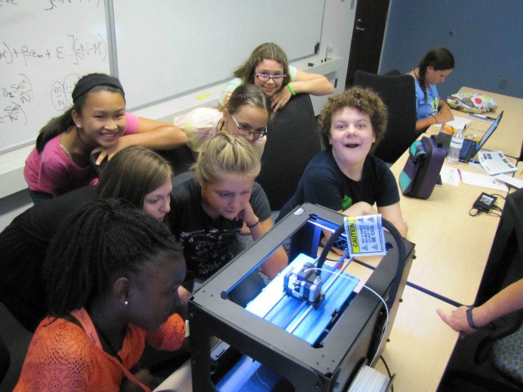 Adventures in STEM campers 3D print flower models