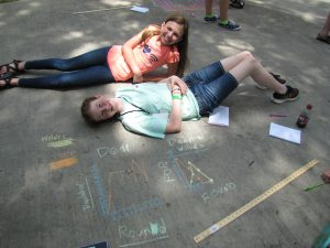 "Campers pose with graphs they created of changing deer and wolf populations from the game ""Oh Deer!"""